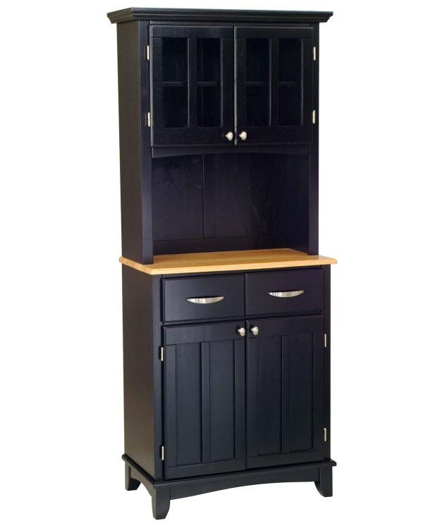 Home Styles Black Server With Natural Wood Top And Two Door Hutch