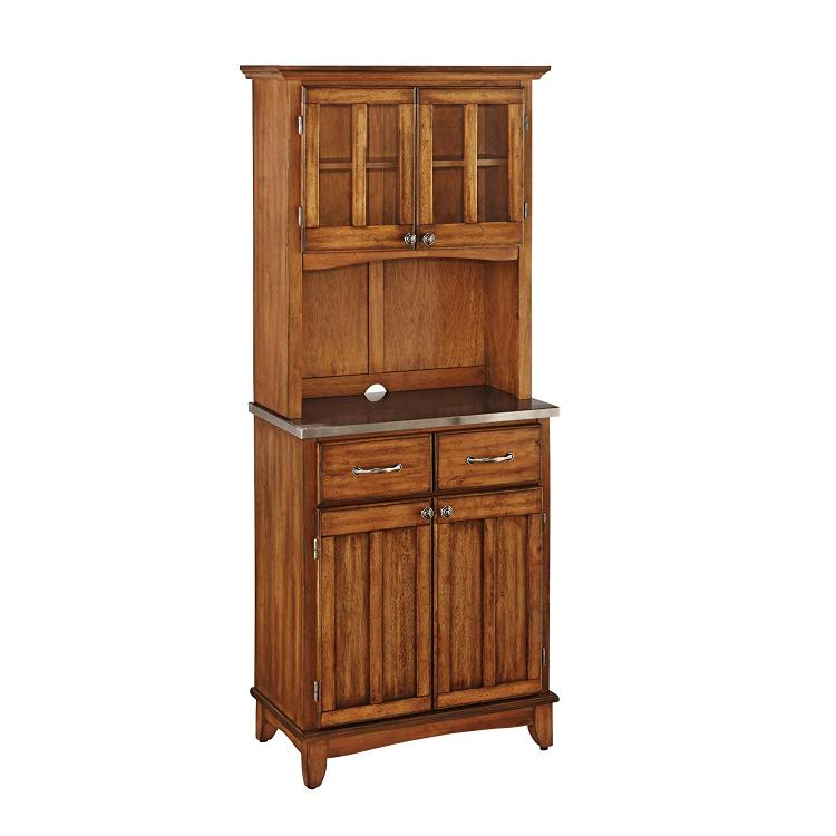 Home Styles Cottage Oak Server With Stainless Steel Top And Two Door Hutch