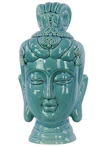 UTC50028 Ceramic Buddha Head Decor with Bun Ushnisha Gloss Finish Blue