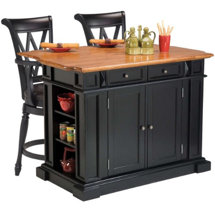 Home Styles Kitchen Island in Black in Distressed Oak and Two Deluxe Bar Stools
