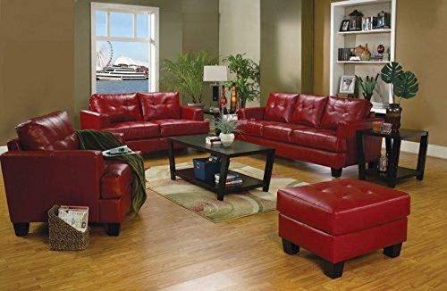 Coaster Samuel Contemporary Red Three-Piece Living Room Set -  Red/Contemporary/Black