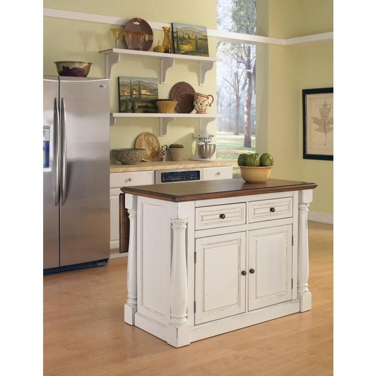 Monarch Antiqued White Kitchen Island