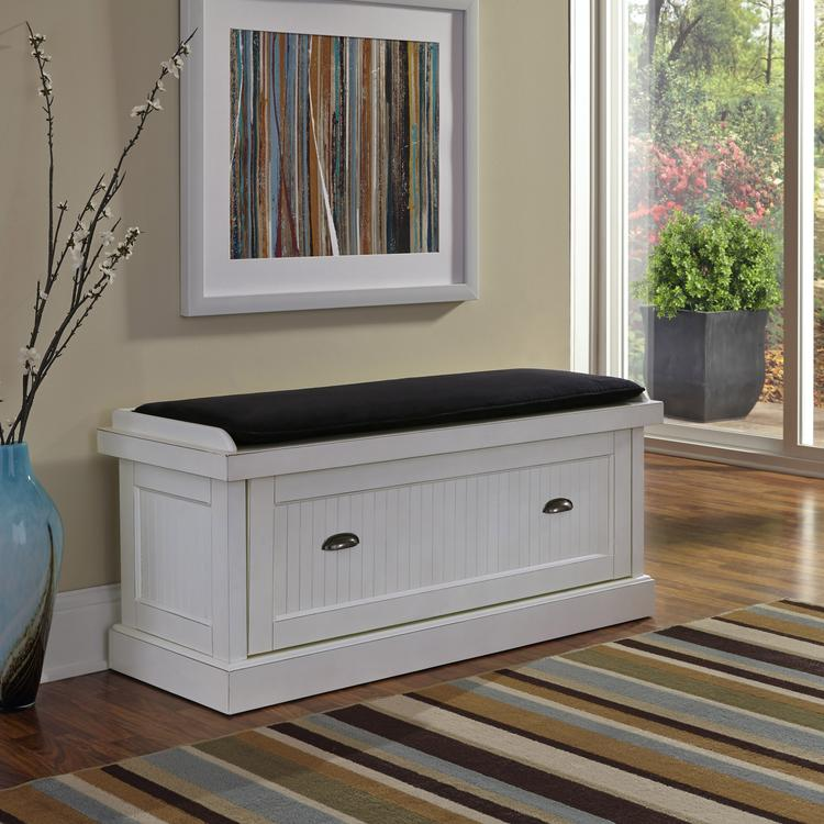 Home Styles Nantucket Distressed Upholstered Bench