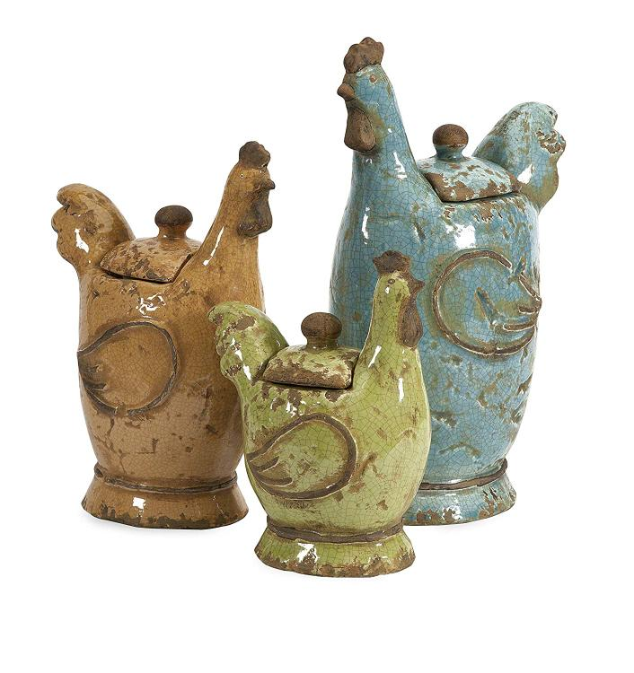 Imax Cherda Lidded Roosters - Set of 3
