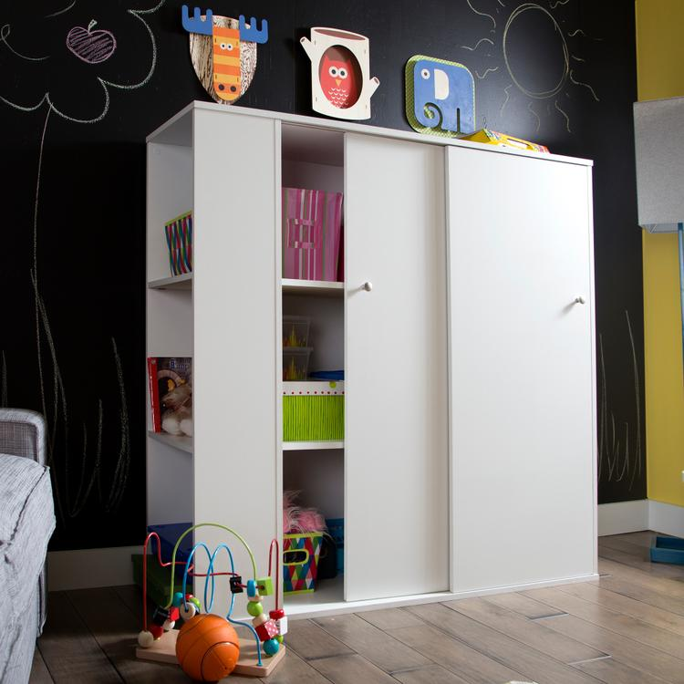 South Shore Crea Kids Storage Cabinet With Sliding Doors