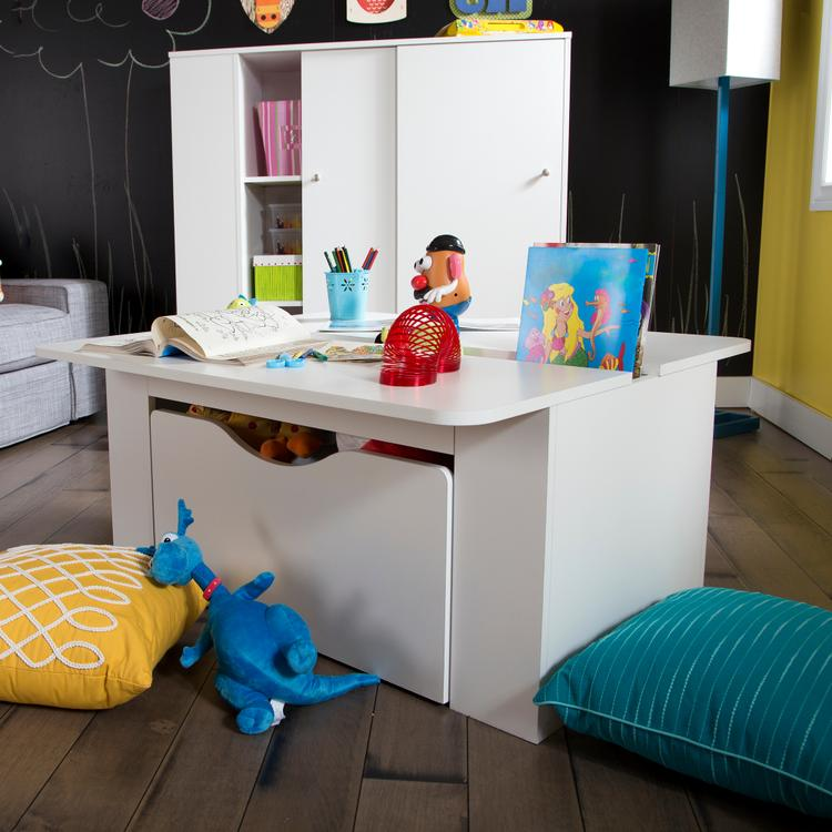 South Shore Crea Kids Activity Table With Toy Box On Wheels