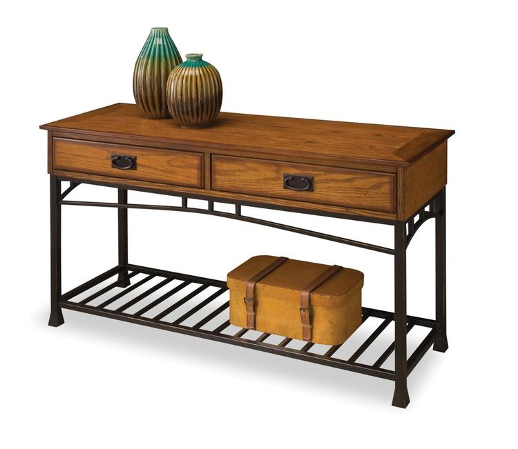 Modern Craftsman Distressed Oak Sofa Table