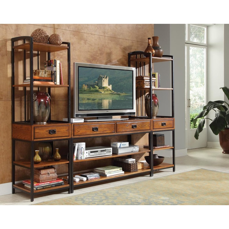 Home Styles Modern Craftsman Distressed Oak 3PC Ent Center