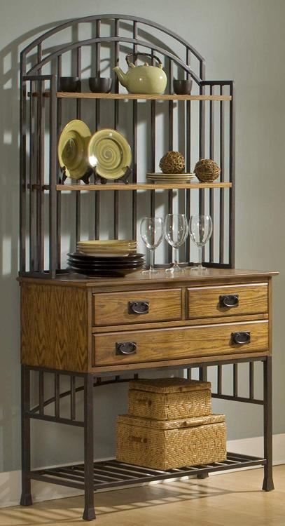 Home Styles Oak Hill Baker's Rack with Server with Hutch [Item # 5050-615]