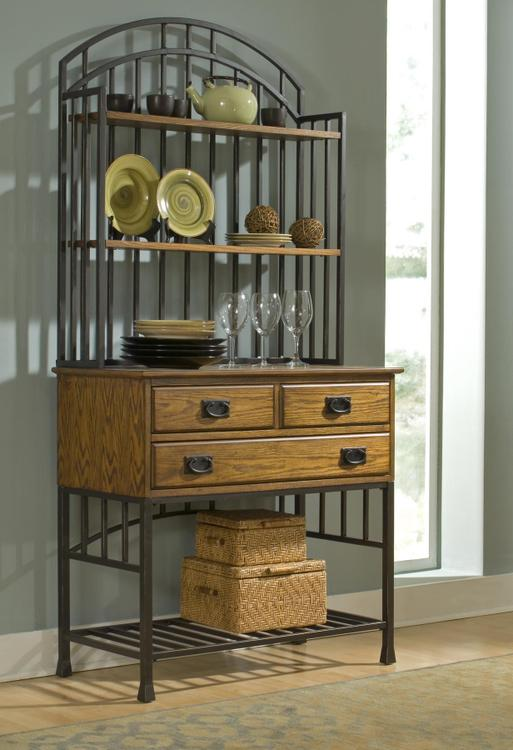 Oak Hill Baker's Rack with Server with Hutch