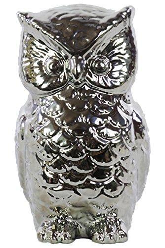 UTC50520 Ceramic Owl Figurine Polished Chrome Finish Silver