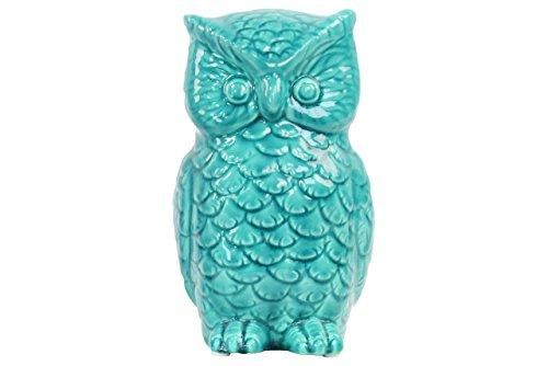 UTC50524 Ceramic Owl Figurine Gloss Finish Turquoise