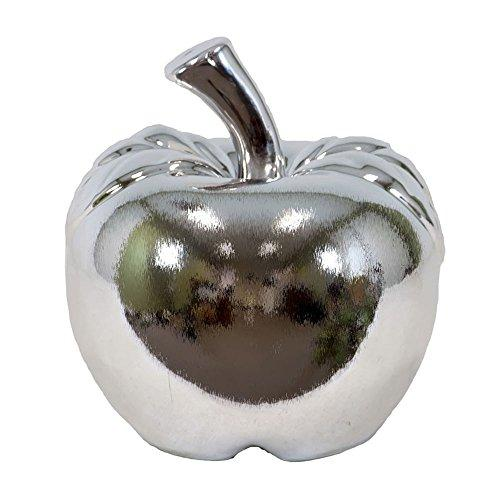 UTC50611 Ceramic Apple Figurine SM Polished Chrome Finish Silver