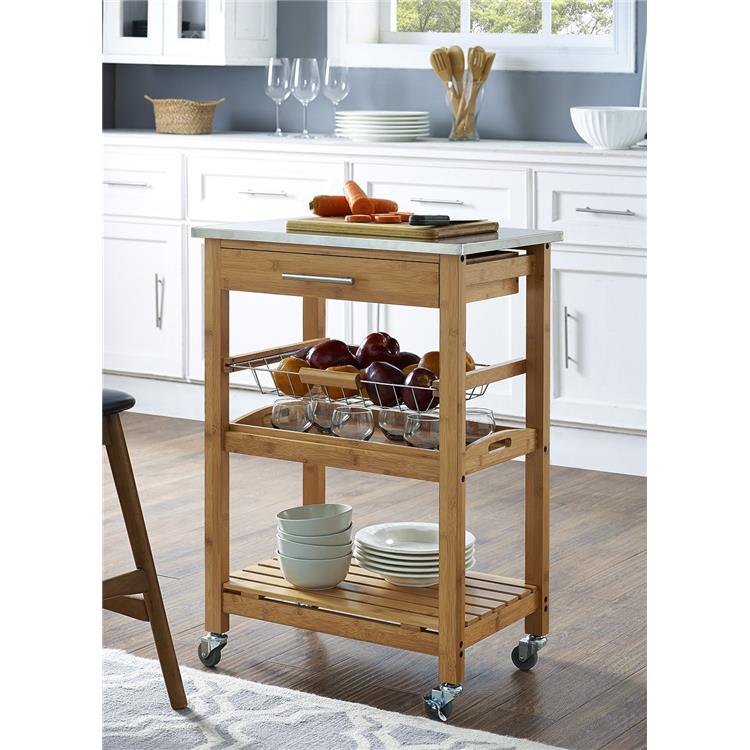Aya Bamboo Kitchen Cart, Stainless Steel Top