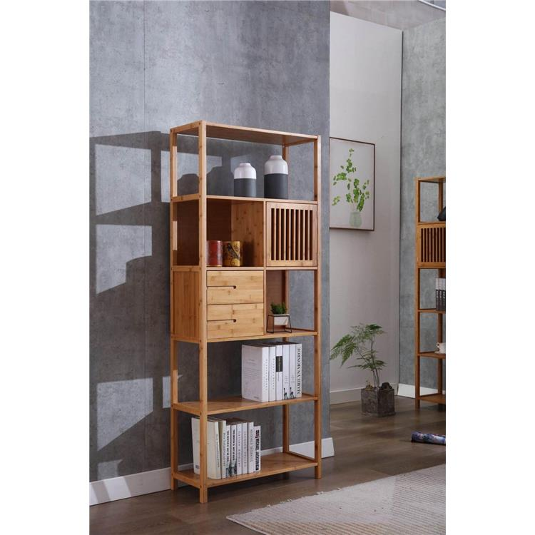 Selma Bamboo Bookcase - Right Facing Spindle Cabinet, Natural