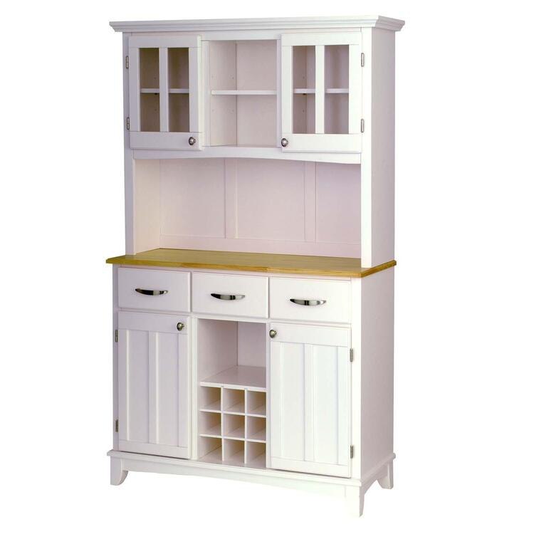 White Server With Natural Wood Top And Two Door Hutch
