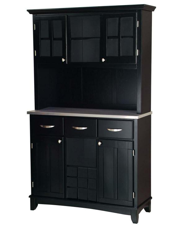 Stainless Steel Top On Black Server And Two Door Hutch
