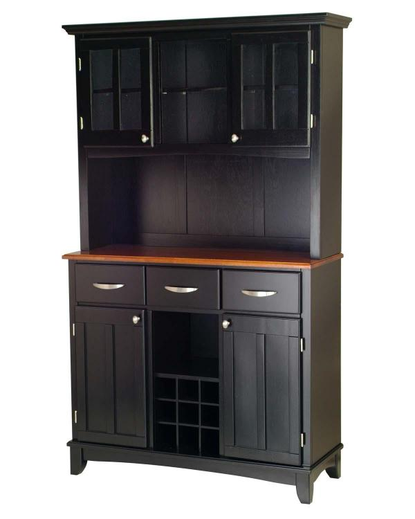 Black Server With Cottage Oak Wood Top And Two Door Hutch