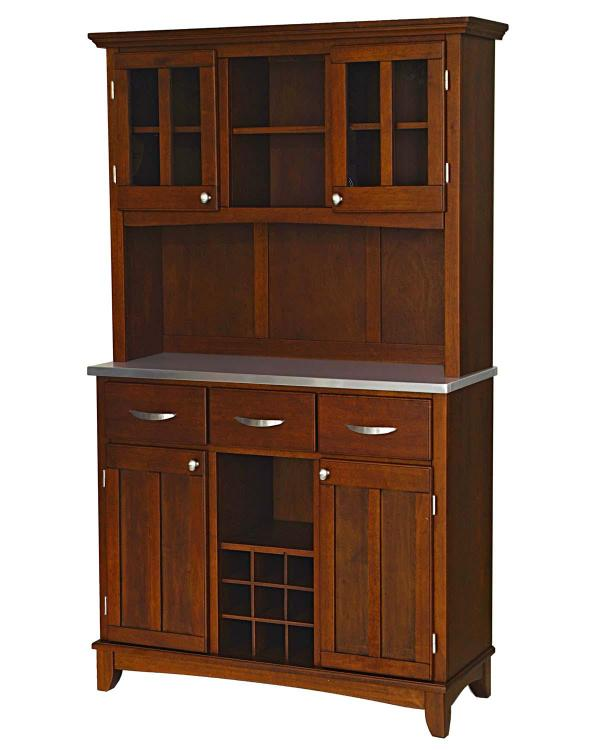 Home Styles Medium Cherry Server With Stainless Steel Top And Two Door Hutch, Size Large - Home Styles - 5100-0073-72 at Sears.com