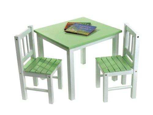 Child's Green/White Table & 2 Chairs Set