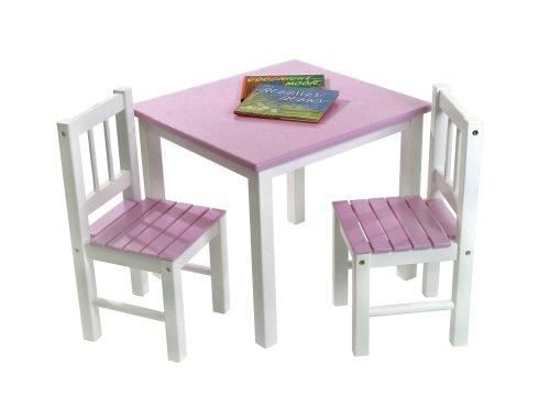 Child's Pink/White Table & 2 Chairs Set