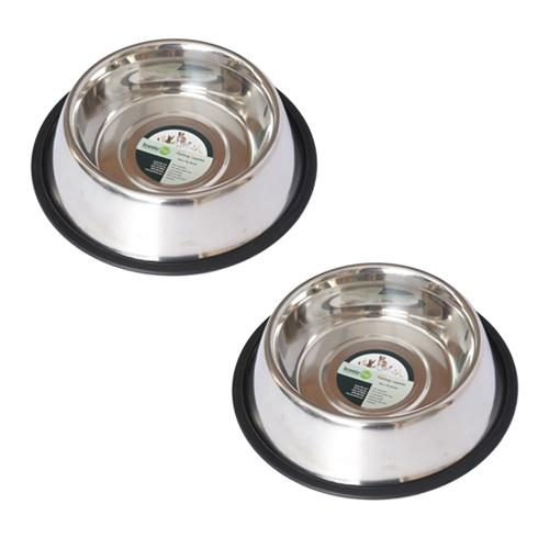 2 Pack Stainless Steel Non-Skid Pet Bowl for Dog or Cat - 24 oz - 3 cup
