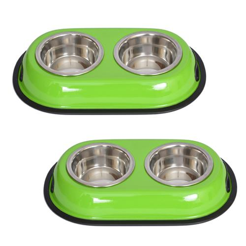 2 Pack Color Splash Stainless Steel Double Diner (Green) for Dog/Cat - 1/2 Pt - 8 oz - 1 cup