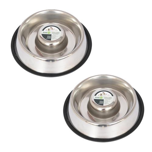 2 Pack Slow Feed Stainless Steel Pet Bowl for Dog or Cat - Small - 12 oz