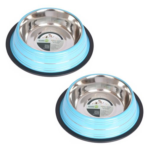 2 Pack Color Splash Stripe Non-Skid Pet Bowl for Dog or Cat - Blue - 24 oz - 3 cup