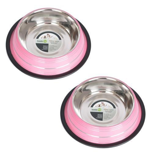 2 Pack Color Splash Stripe Non-Skid Pet Bowl for Dog or Cat - Pink - 24 oz - 3 cup