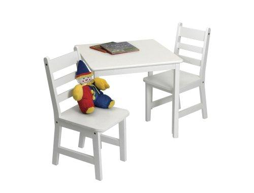 Child's Square Table & 2 Chairs Set - White
