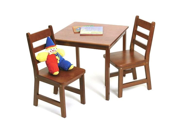 Child's Square Table & 2 Chairs Set -Walnut