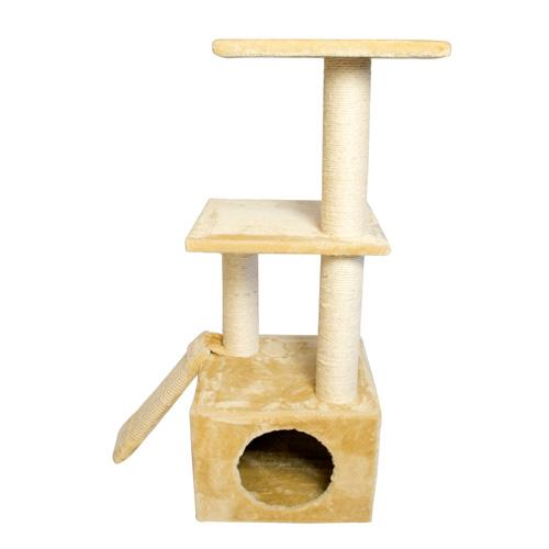 Iconic Pet - Three Level Cat Tree Condo with Sisal Ramp and multiple Sisal Posts - Beige