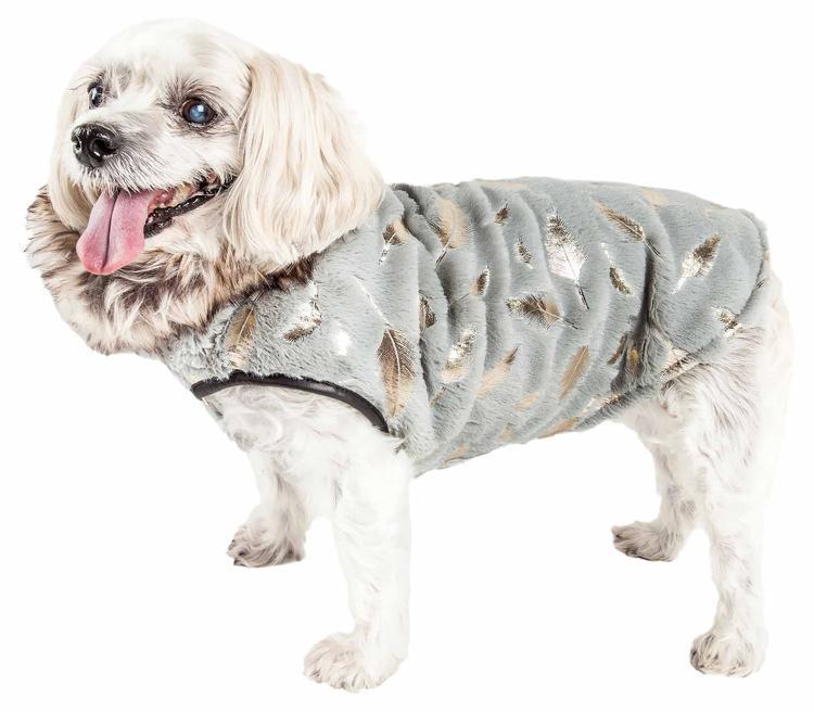 Pet Life ® Luxe 'Gold-Wagger' Gold-Leaf Designer Fur Dog Jacket Coat