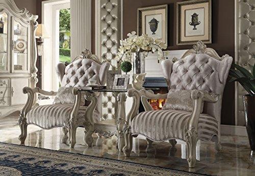 ACME Versailles Chair w/1 Pillow, Ivory Velvet & Bone White