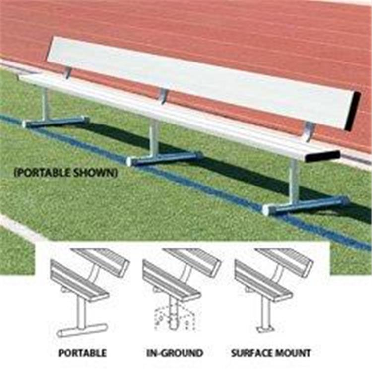 BSN Sports Anodized Aluminum Surface-Mount Player's Benches With Back