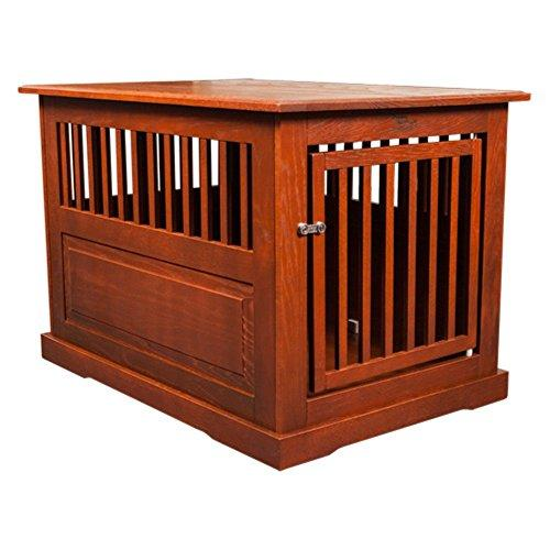 Fortress Medium Oak Wood End Table Pet Crate - Mahogany