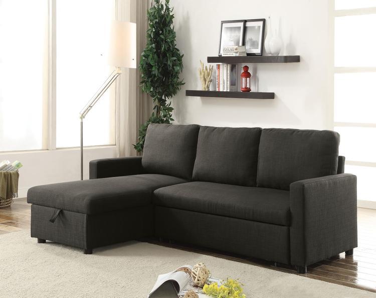 ACME Hiltons Sectional Sofa w/Sleeper & Storage, Charcoal Linen (1Set/2Ctn)