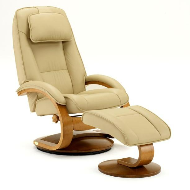 Top Grain Leather Swivel, Recliner with Ottoman