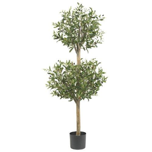 Nearly Natural 4.5' Olive Double Topiary Silk Tree