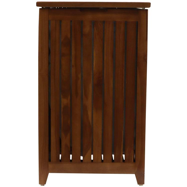 WC Redmon Genuine Teak Apartment Hamper with Laundry Bag [Item # 5314E]