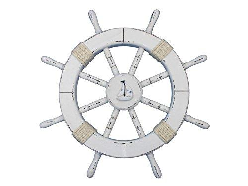 Rustic White Decorative Ship Wheel with Sailboat 18''