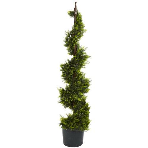Nearly Natural 4' Cypress Spiral Silk Tree