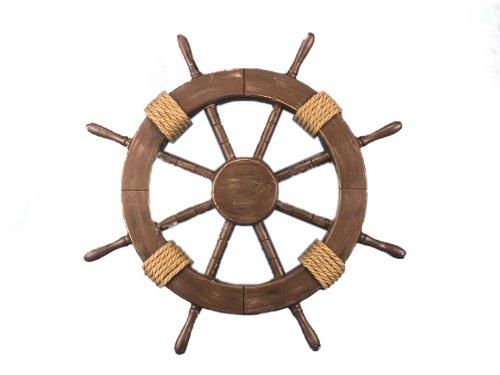 Rustic Wood Finish Decorative Ship Wheel 18''