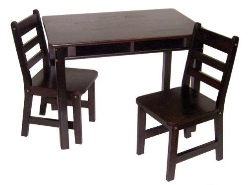 Child's Rect. Table w/shelves & 2 Chairs-Espresso Finish