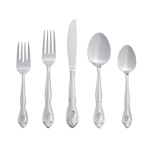 RiverRidge Home 46 Piece Monogrammed Flatware Set