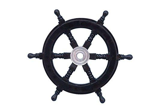 Deluxe Class Wood and Chrome Decorative Pirate Ship Steering Wheel 12''