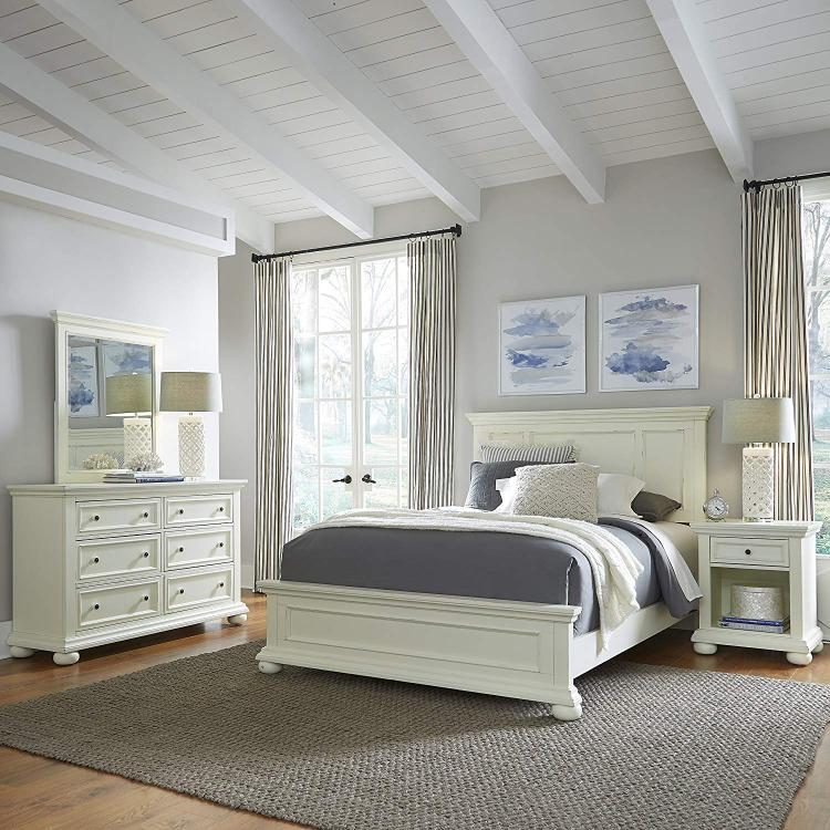 Home Styles Dover White Queen Bed; Night Stand; with Dresser & Mirror