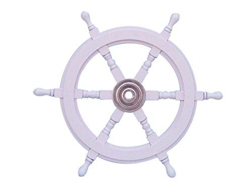 Deluxe Class White Wood and Chrome Ship Decorative Steering Wheel 24''