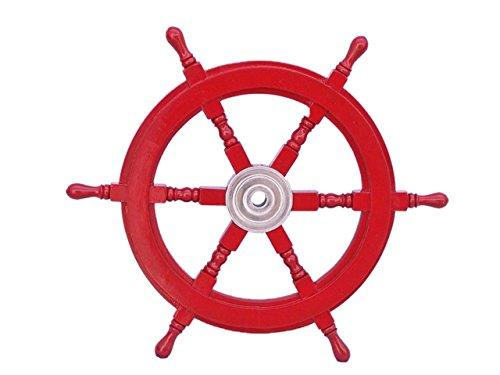 Deluxe Class Dark Red Wood and Chrome Decorative Ship Steering Wheel 24''